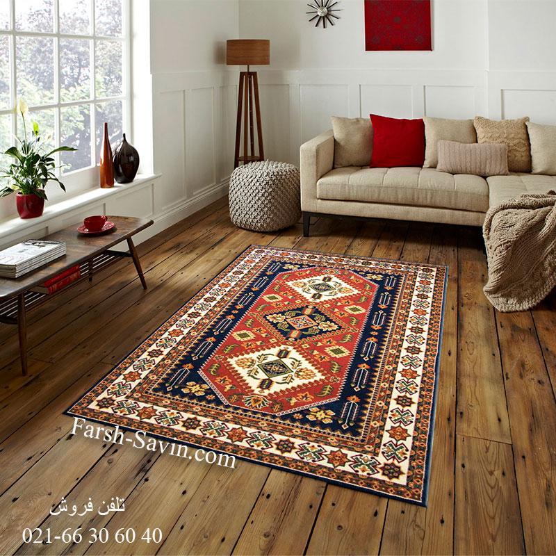 فرش ساوین آنیتا سرمه ای فرش خاص