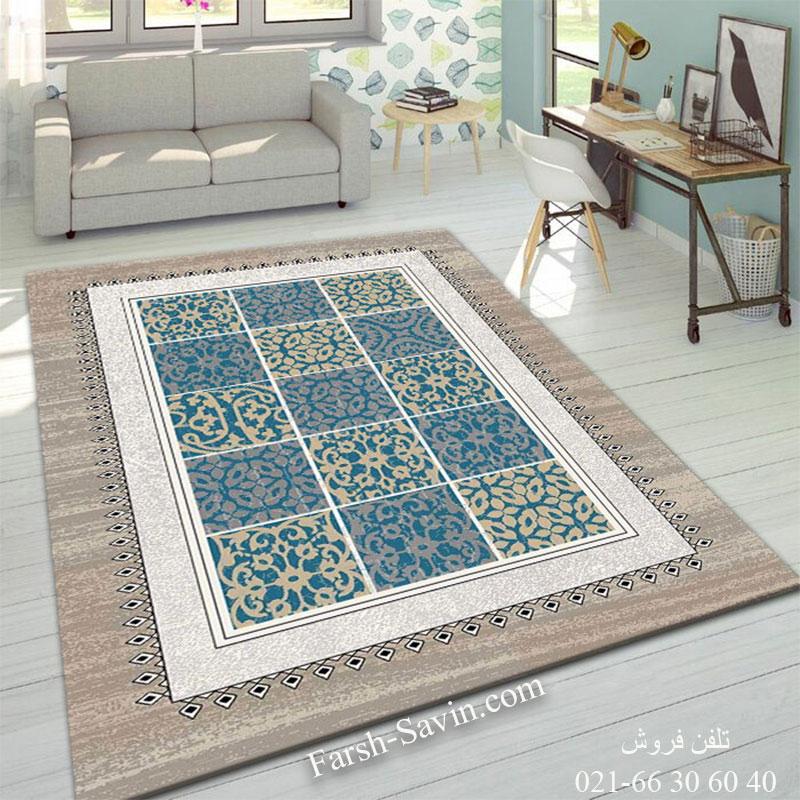 فرش ساوین آنتیک آبی فرش پرفروش