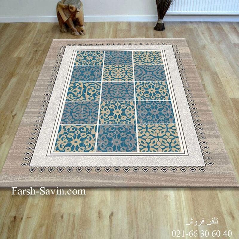 فرش ساوین آنتیک آبی فرش شیک