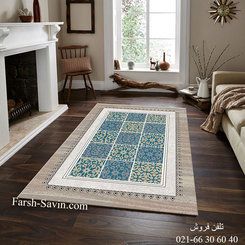 فرش ساوین آنتیک آبی فرش خاص