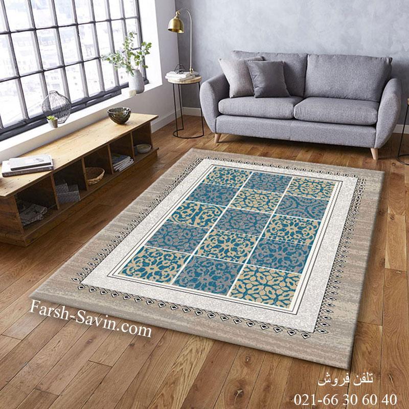 فرش ساوین آنتیک آبی فرش مدرن