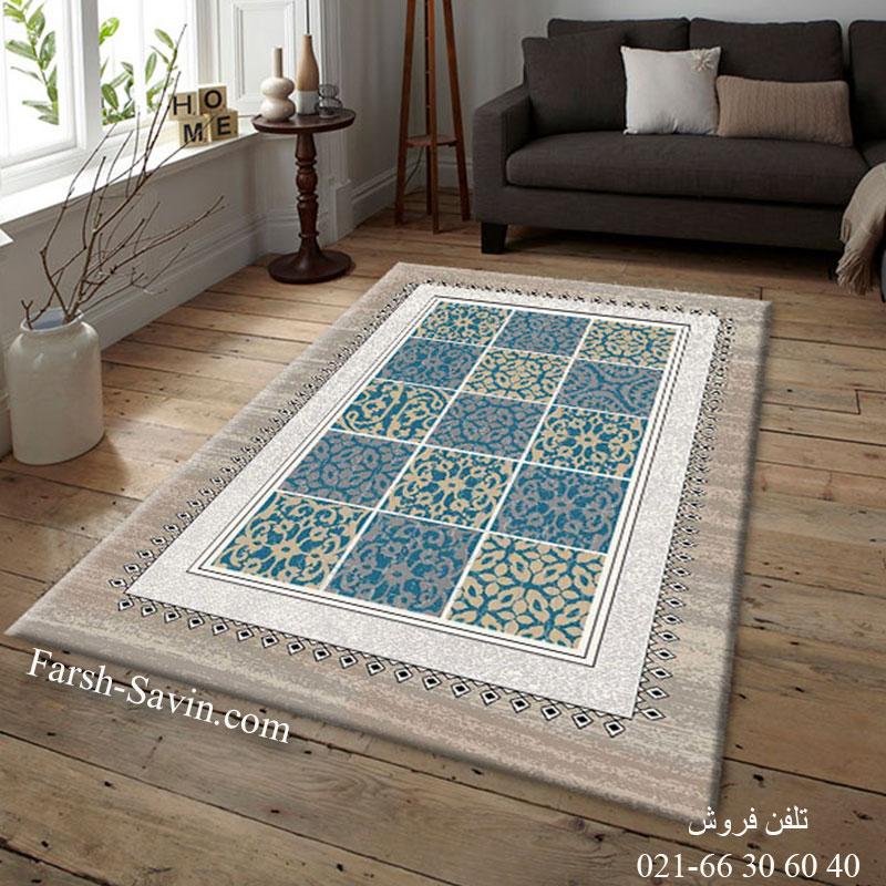 فرش ساوین آنتیک آبی فرش بادوام