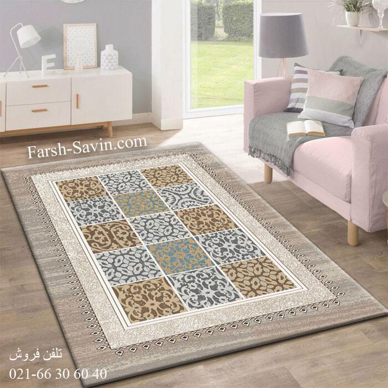 فرش ساوین آنتیک شکلاتی فرش فانتزی