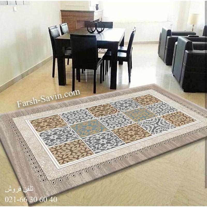 فرش ساوین آنتیک شکلاتی فرش زیبا