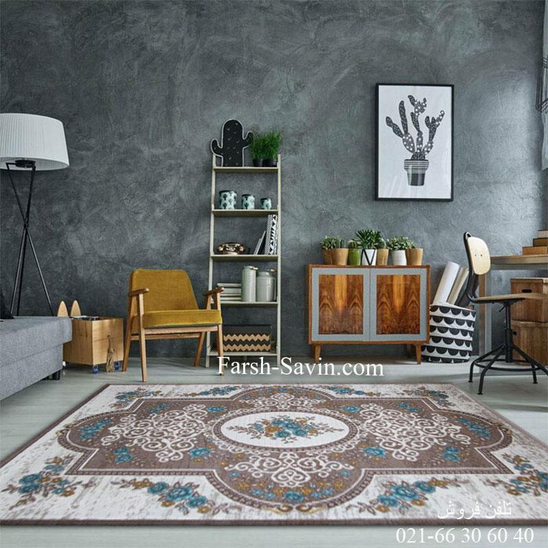 فرش ساوین 1500 آبی فرش با کیفیت