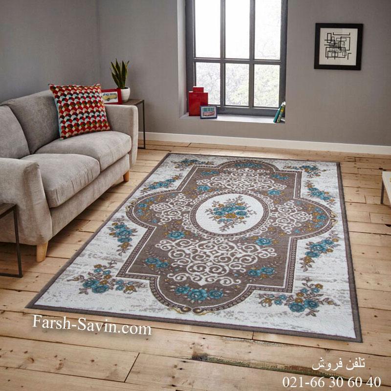 فرش ساوین 1500 آبی فرش فانتزی