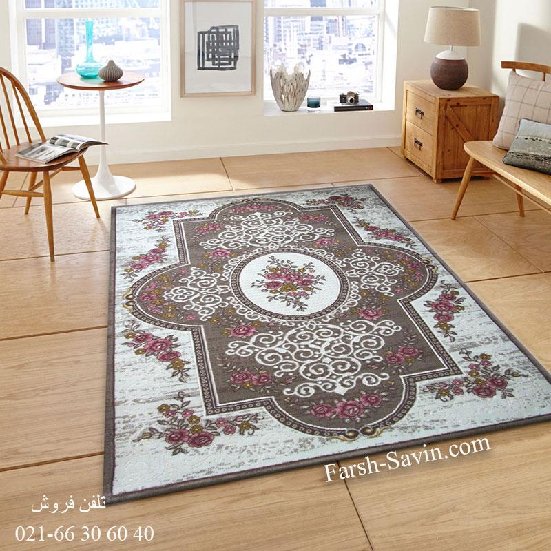 فرش ساوین 1500 صورتی فرش