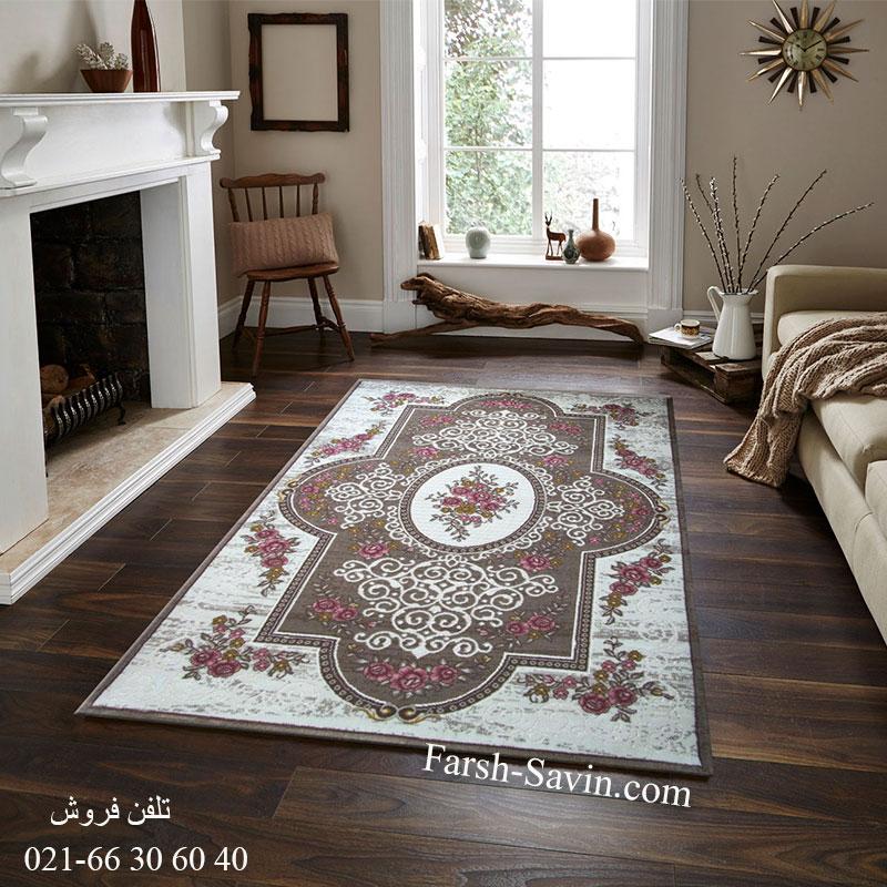 فرش ساوین 1500 صورتی فرش بادوام
