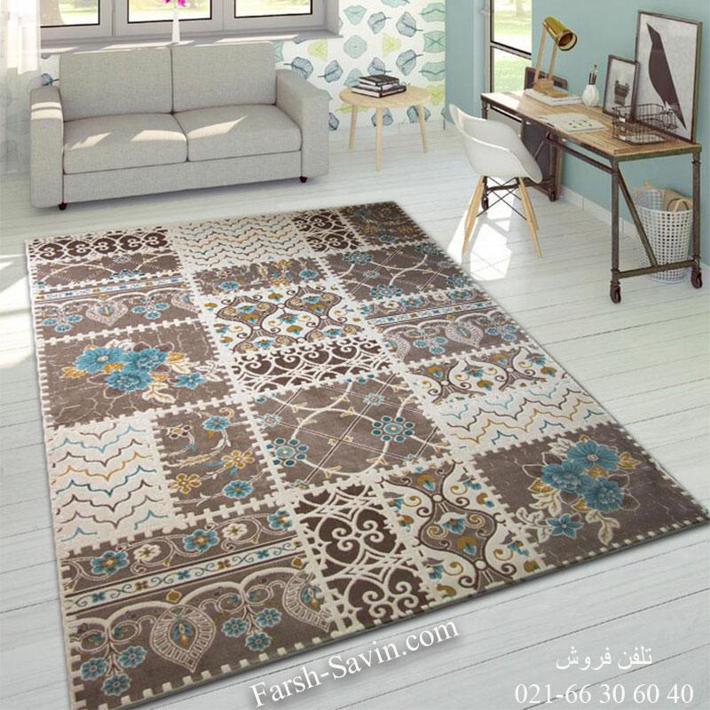 فرش ساوین 1501 آبی فرش مدرن