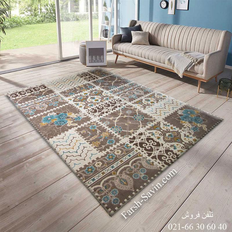 فرش ساوین 1501 آبی فرش خاص