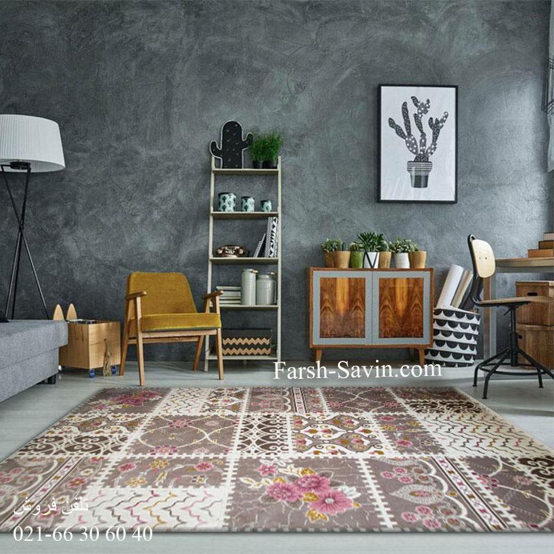 فرش ساوین 1501 صورتی فرش فانتزی