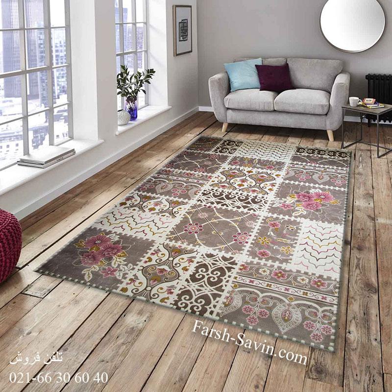 فرش ساوین 1501 صورتی فرش خاص