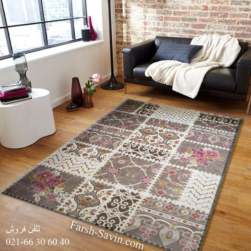 فرش ساوین 1501 صورتی فرش اتاق خواب