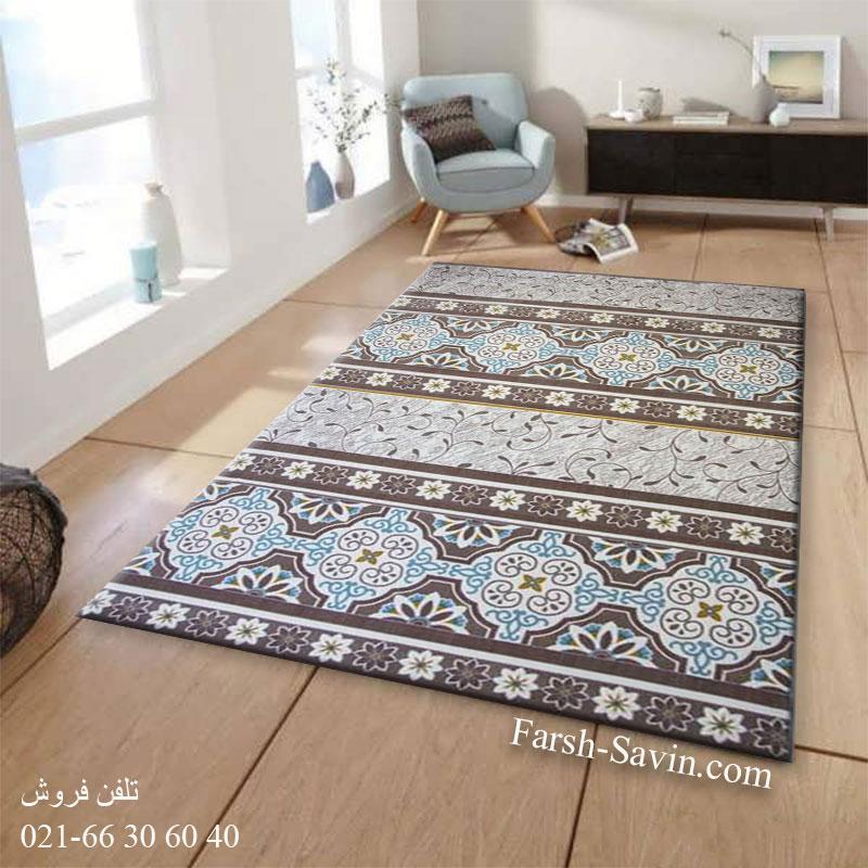 فرش ساوین 1502 آبی فرش مدرن