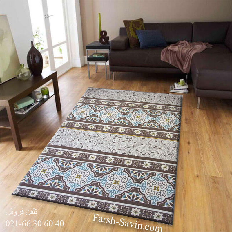 فرش ساوین طرح 1502 آبی فرش ارزان