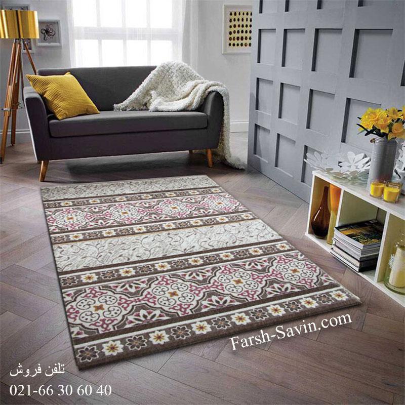 فرش ساوین 1502 صورتی فرش ارزان