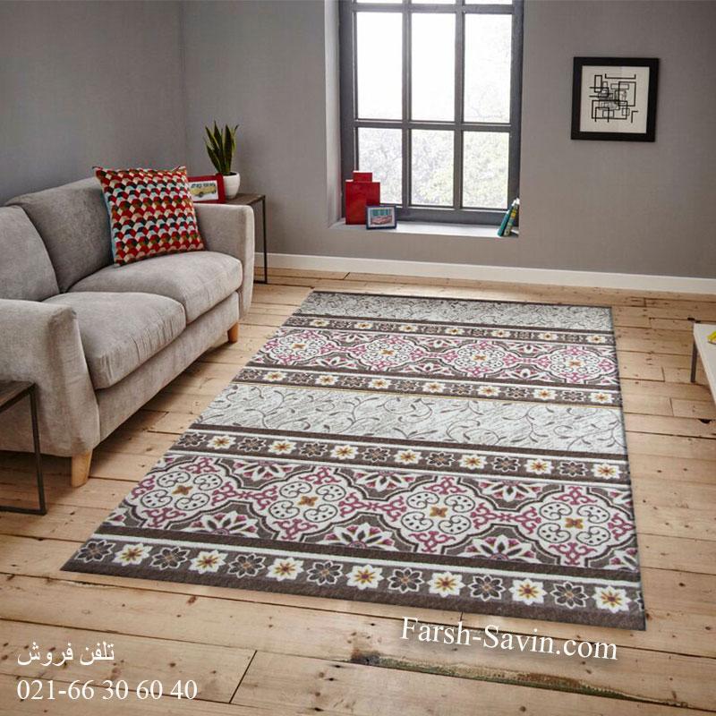 فرش ساوین 1502 صورتی فرش با کیفیت