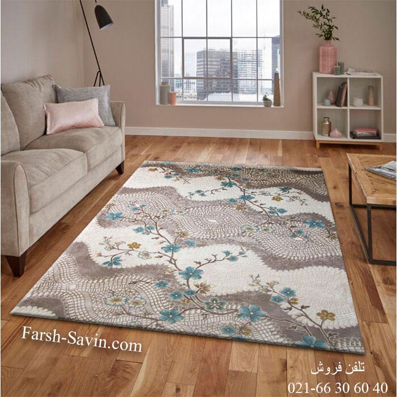فرش ساوین 1503 آبی فرش اتاق پذیرایی