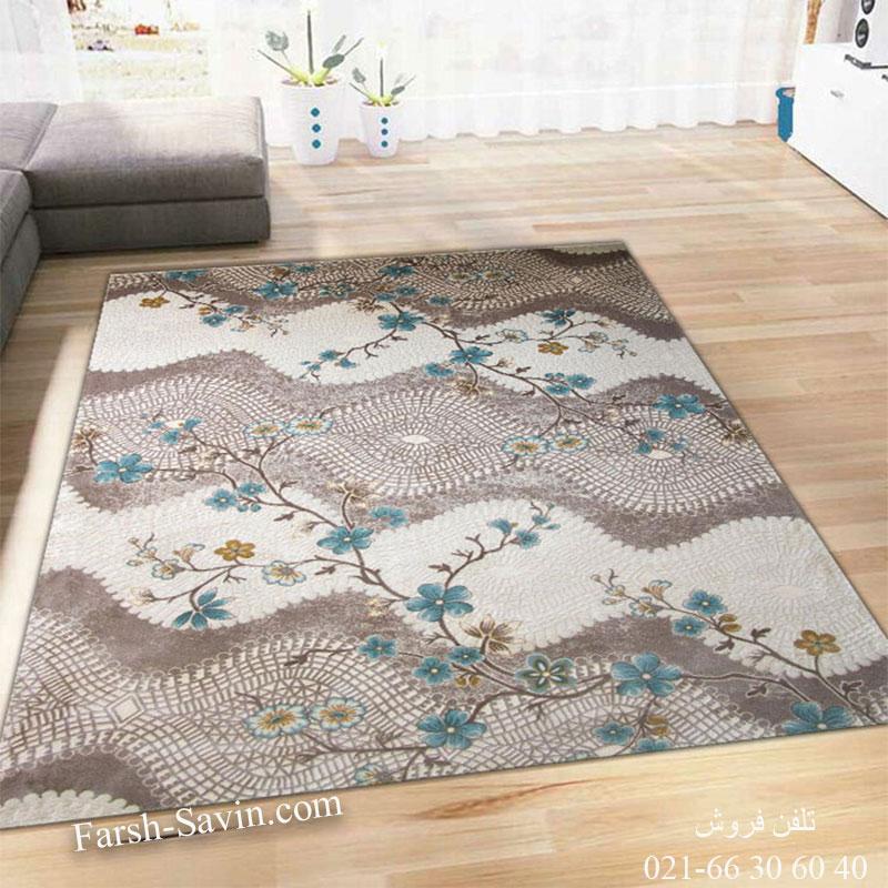 فرش ساوین 1503 آبی فرش خوش نقشه