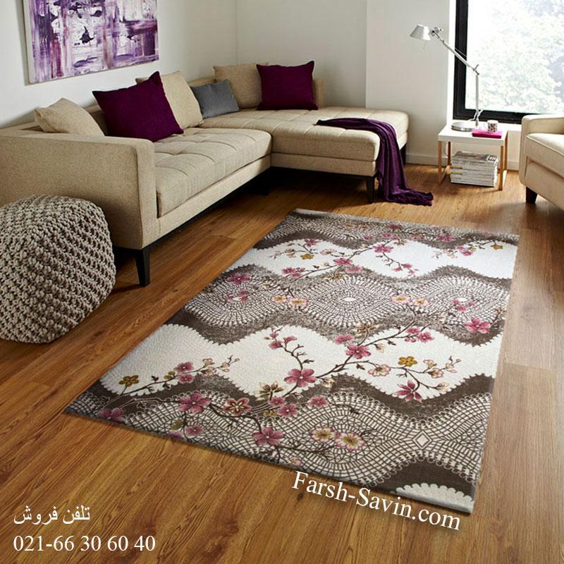فرش ساوین 1503 صورتی فرش اتاق پذیرایی