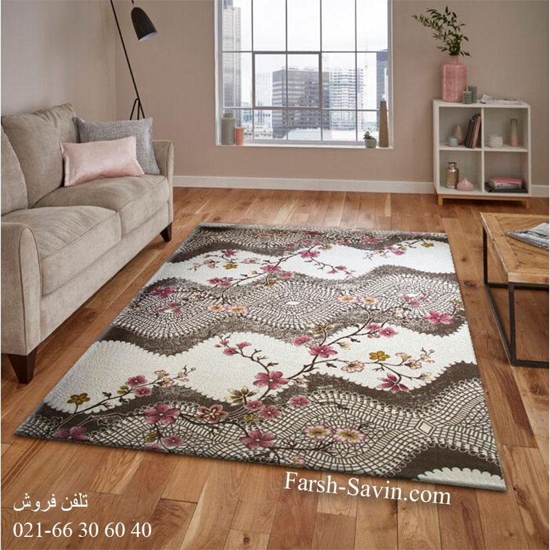 فرش ساوین 1503 صورتی فرش با دوام