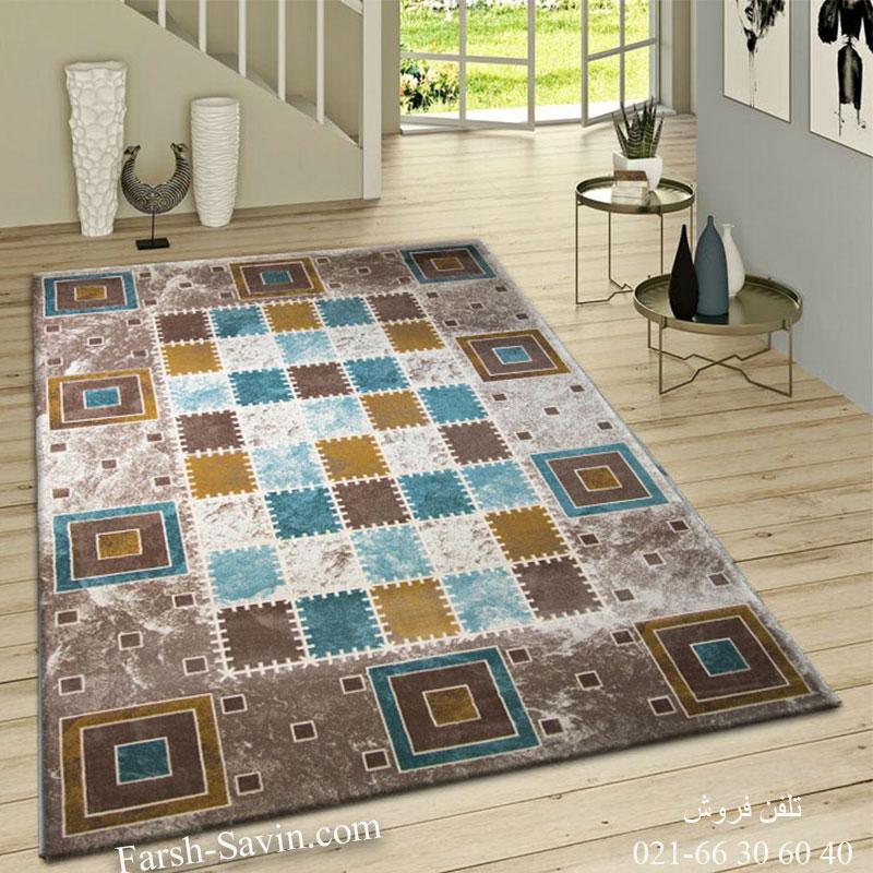 فرش ساوین 1504 آبی فرش ارزان