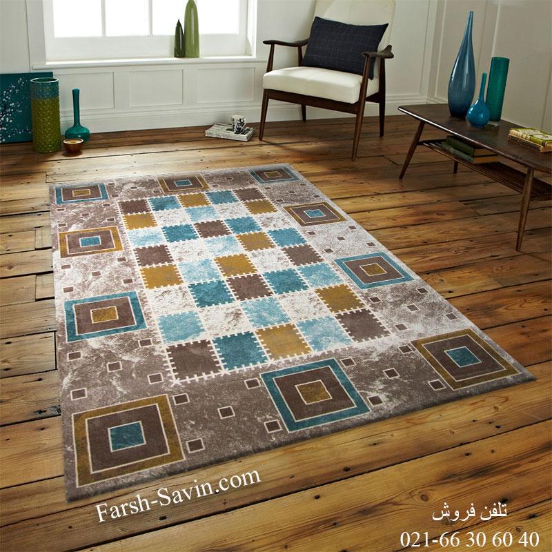 فرش ساوین 1504 آبی 1/5 متری فرش فانتزی