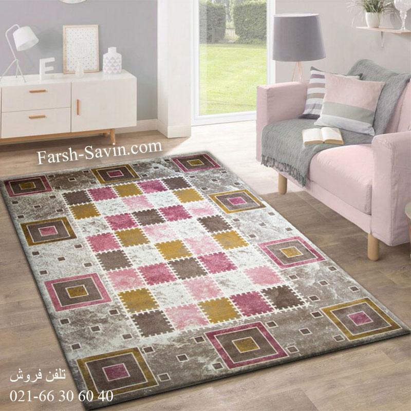 فرش ساوین 1504 صورتی فرش فانتزی