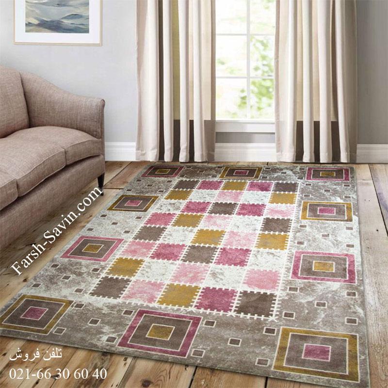 فرش ساوین 1504 صورتی فرش ارزان