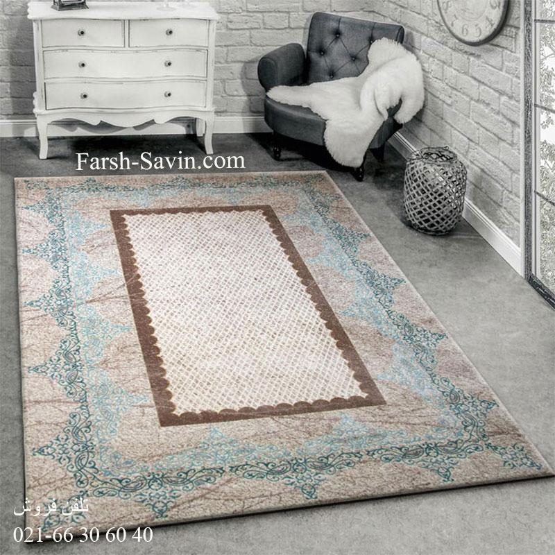 فرش ساوین 1505 آبی فرش زیبا