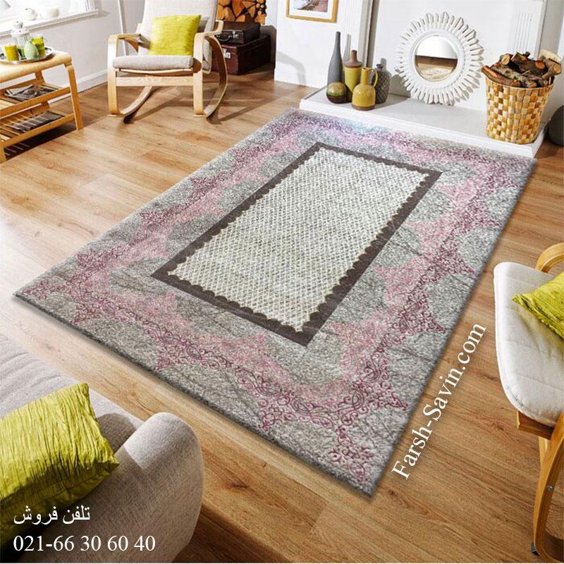 فرش ساوین 1505 صورتی فرش زیبا