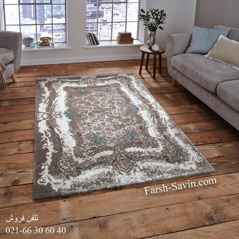 فرش ساوین 1506 آبی فرش پرفروش