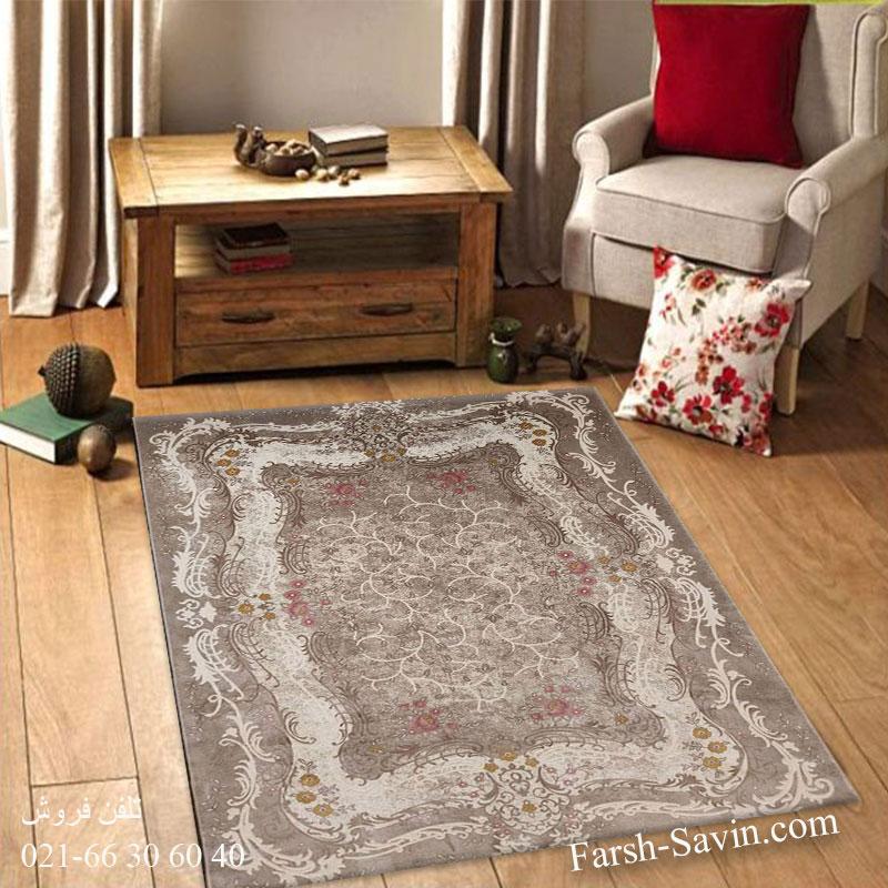 فرش ساوین 1506 صورتی فرش زیبا