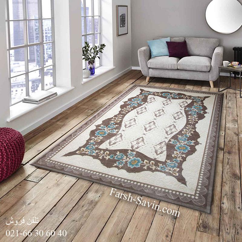فرش ساوین 1507 آبی فرش اتاق پذیرایی
