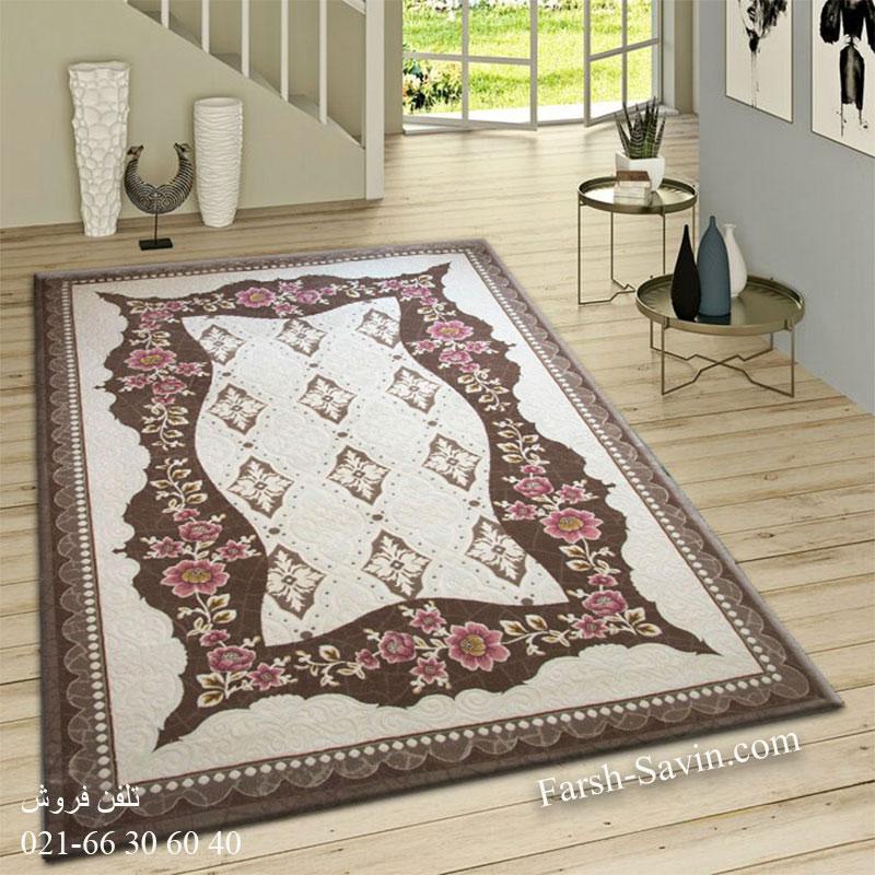 فرش ساوین 1507 صورتی فرش فانتزی