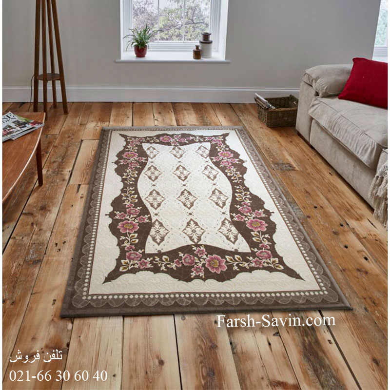 فرش ساوین 1507 صورتی فرش با کیفیت