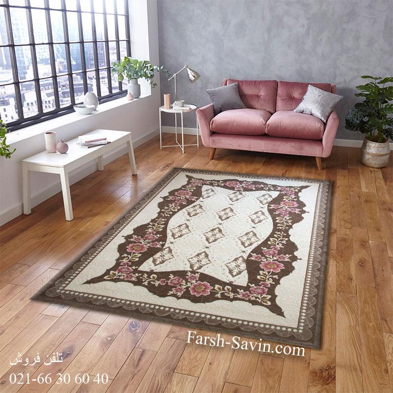 فرش ساوین 1507 صورتی فرش پرفروش