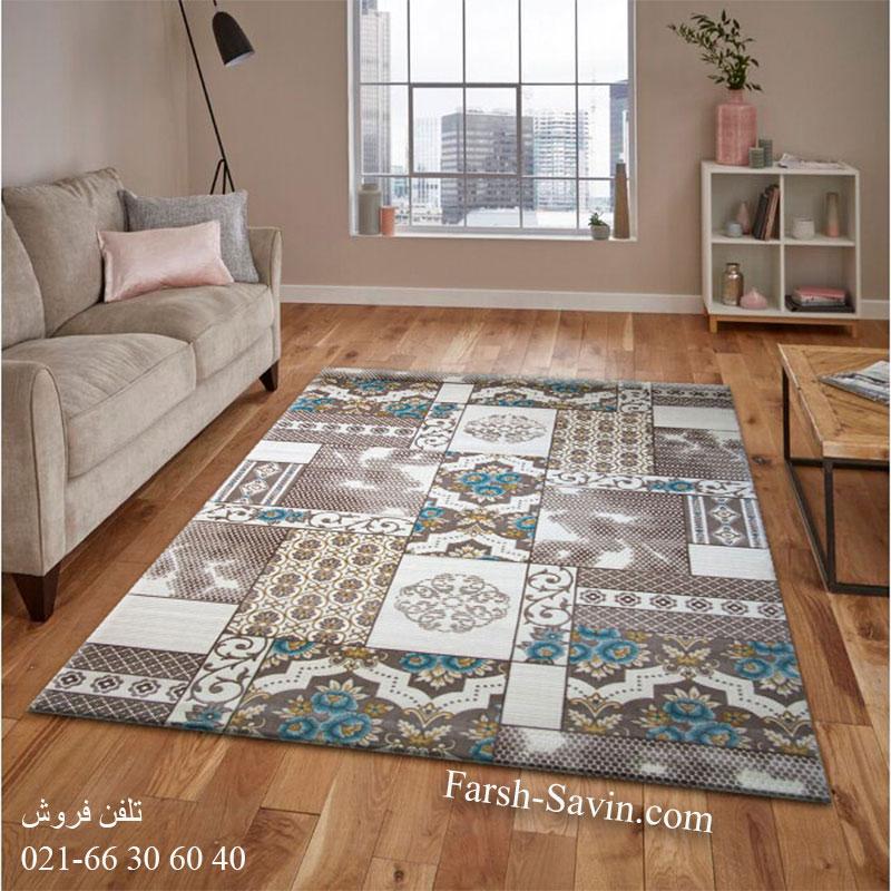 فرش ساوین 1508 آبی فرش زیبا