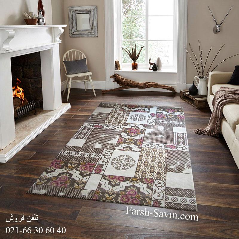 فرش ساوین 1508 صورتی فرش با کیفیت