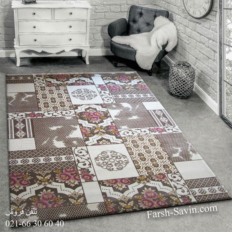 فرش ساوین 1508 صورتی فرش خاص