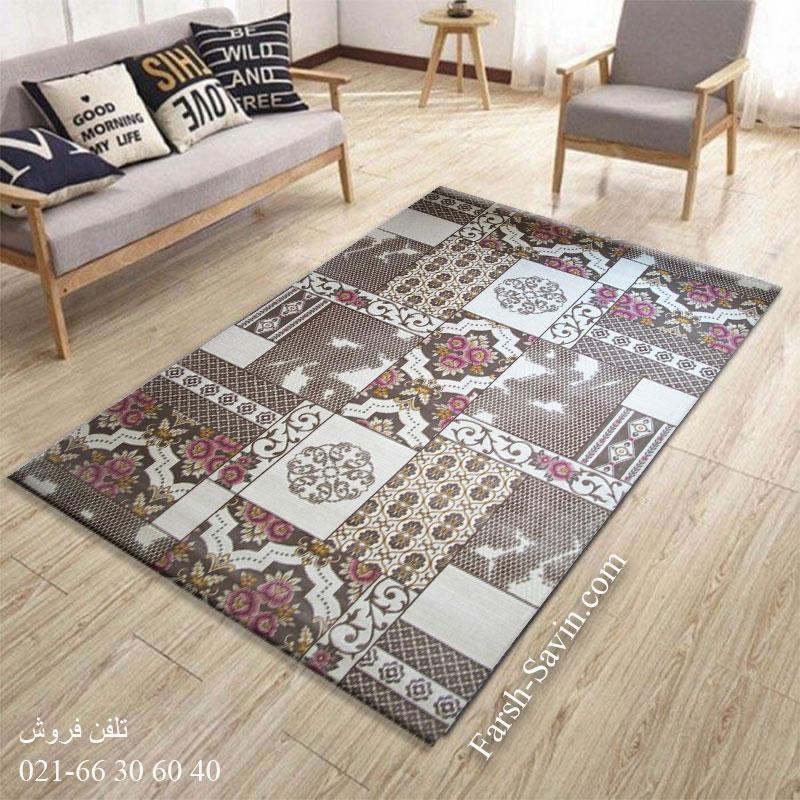 فرش ساوین 1508 صورتی فرش ارزان