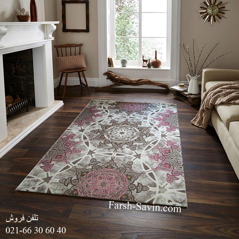 فرش ساوین 1509 صورتی فرش مناسب اتاق پذیرایی