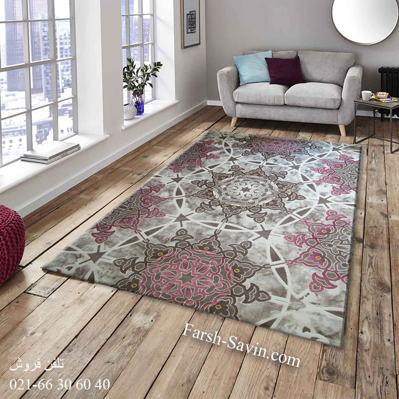 فرش ساوین 1509 صورتی فرش زیبا