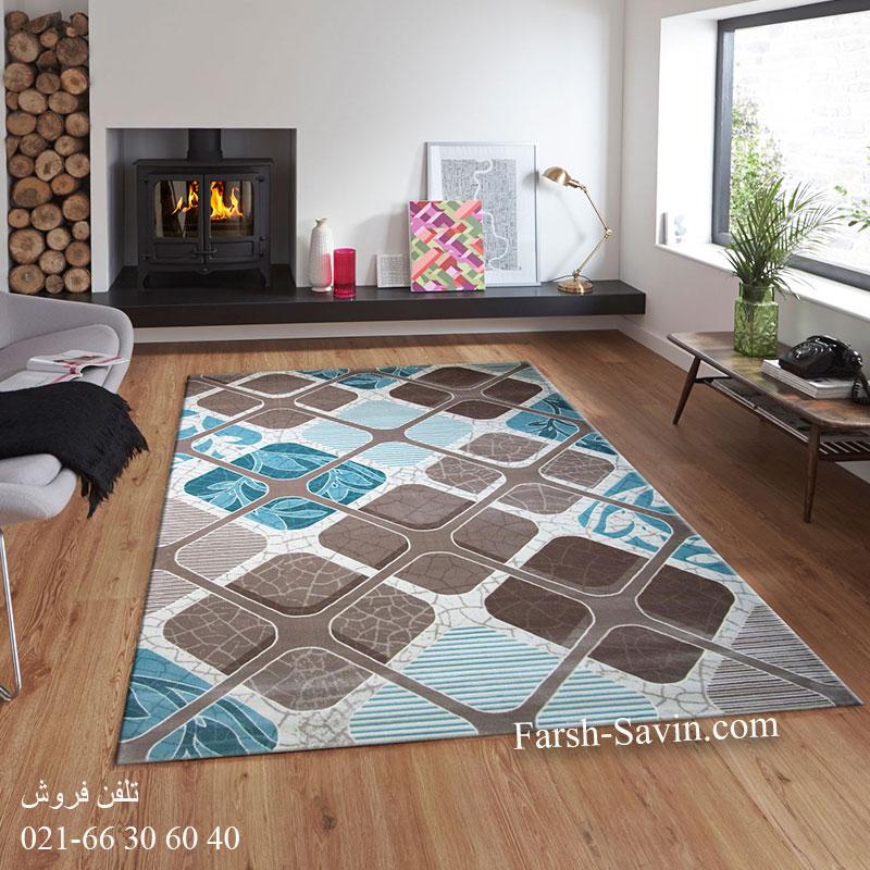 فرش ساوین 1510 آبی فرش فانتزی