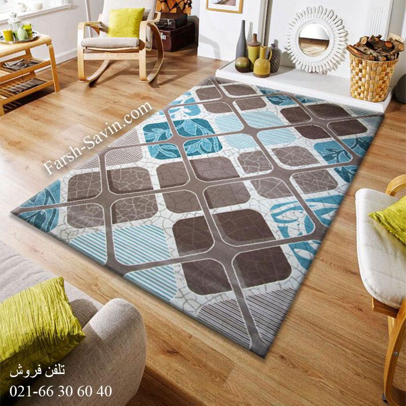 فرش ساوین 1510 آبی فرش لاکچری