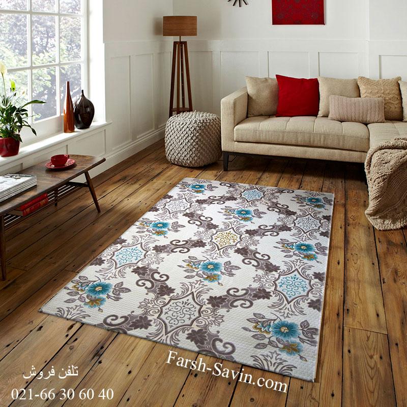 فرش ساوین 1511 آبی فرش مدرن