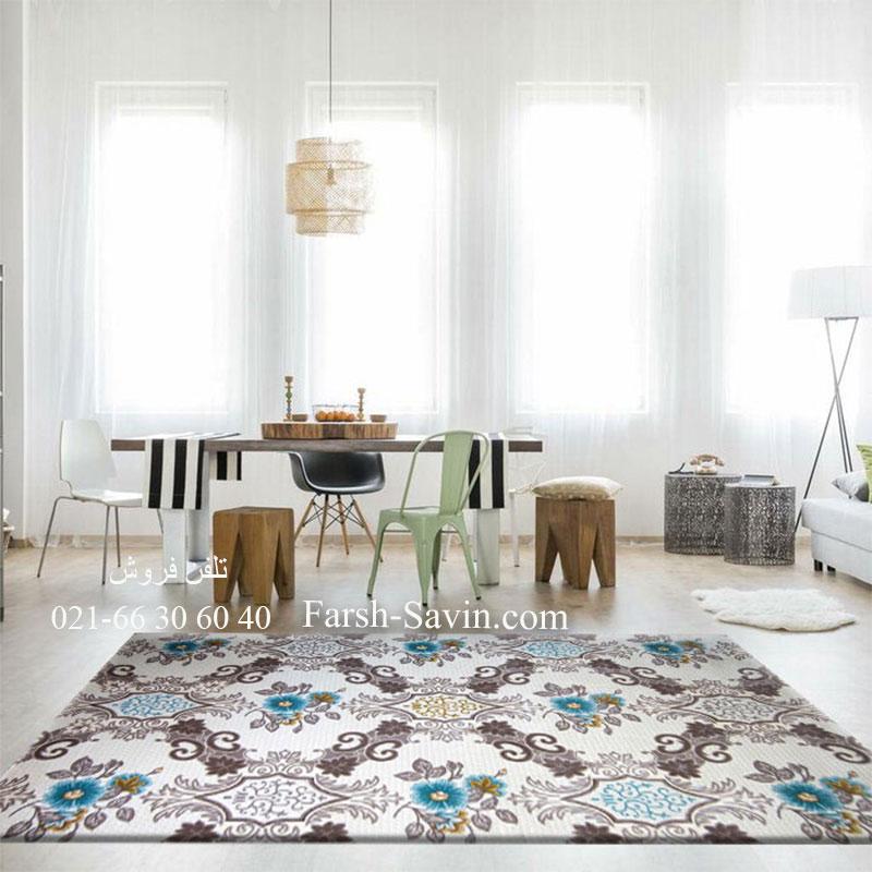 فرش ساوین 1511 آبی فرش ارزان