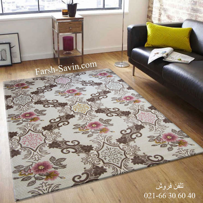 فرش ساوین 1511 صورتی فرش ارزان