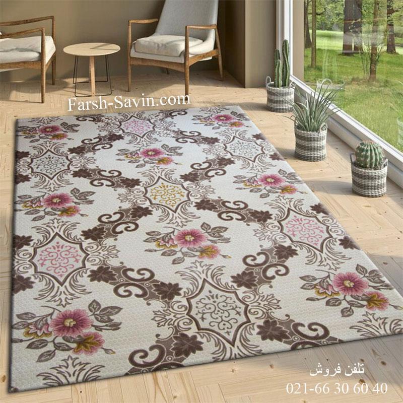 فرش ساوین 1511 صورتی فرش فانتزی