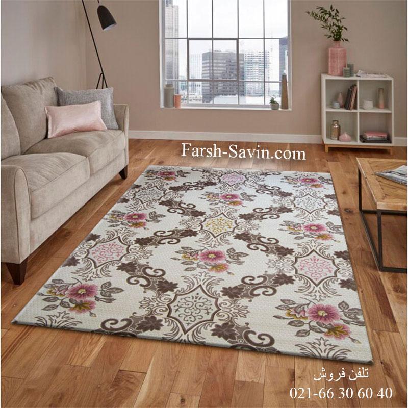 فرش ساوین 1511 صورتی فرش با کیفیت